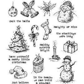 Stampers Anonymous/Tim Holtz - Cling Mount Stamp Set - Tattered Christmas - CMS318